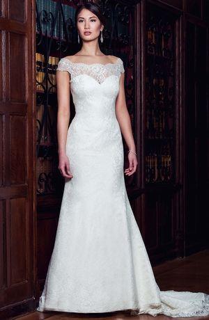 Bridal Gowns: Augusta Jones A-Line Wedding Dress with Tip of the Shoulder Neckline and No Waist/Princess Seams Waistline