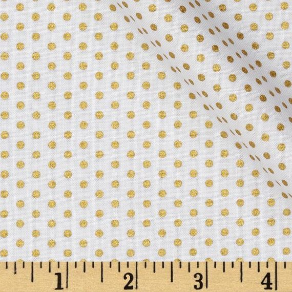 NEW Spot On Metallic Gold Pin Dots Blanc / White  by StitchinStash, $8.25