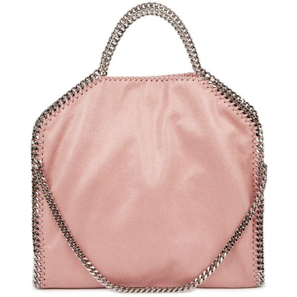 Stella McCartney Falabella pink faux suede shoulder bag (3,135 SAR) ❤ liked on Polyvore featuring bags, handbags, shoulder bags, chain strap shoulder bag, stella mccartney purse, light pink purse, stella mccartney handbags and chain shoulder bag