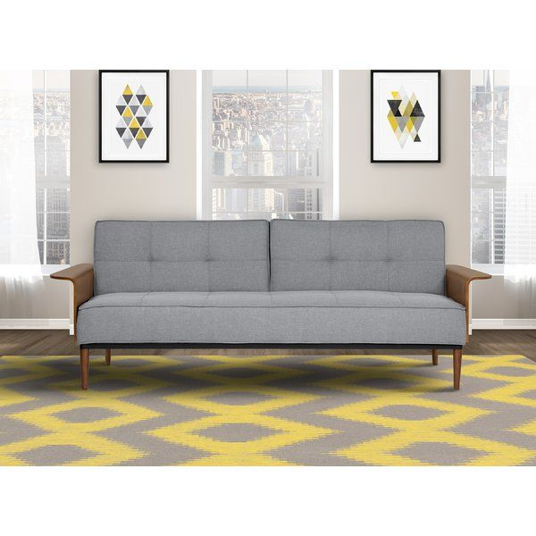 The Barbee Convertible Mid-Century Futon Sleeper Sofa represents a perfect blend of style and comfort.  For a restful sleep, lower the back support to convert the sofa into a comfortable bed. Treat yourself to the chic design and plush cushion support of this elegantly upholstered sleeper.