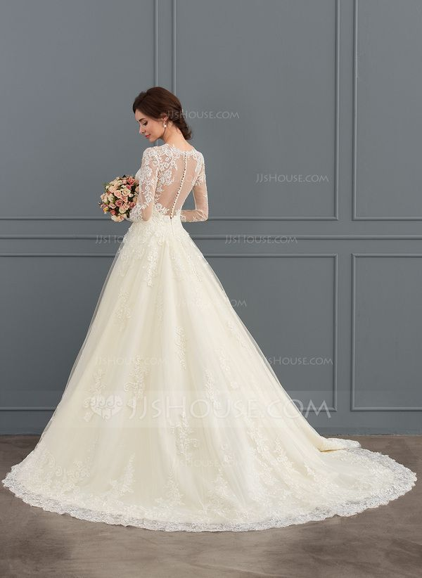 d13c4931972 Ball-Gown Princess Illusion Court Train Tulle Lace Wedding Dress ...