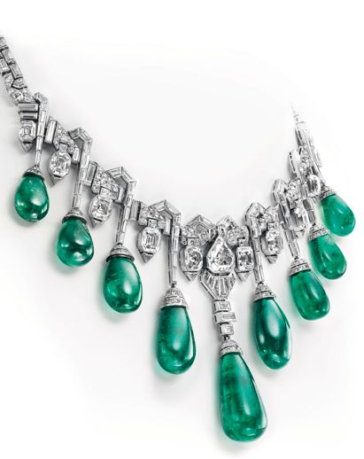 Van Cleef & Arpels Art Deco emerald and diamond necklace once owned by Princess Faiza of Egypt, daughter of King Fouad I of Egypt (estimate: SFr 2,500,000 - 3,500,000 / US$2.7 - 3.7 million).