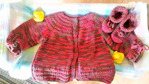 4 Months  Pink/brown/orange knitted jacket/sweater and