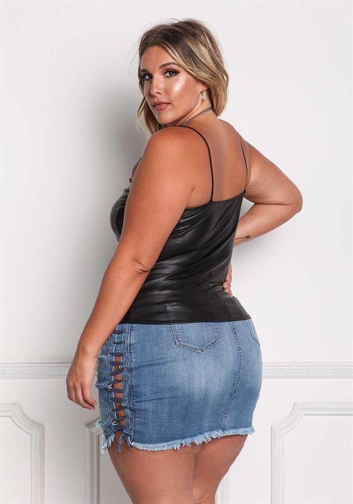 Plus Size Clothing | Plus Size Leatherette Hook & Eye Tank Top | Debshops