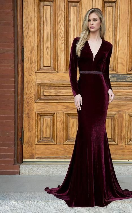 Colors Dress - 1780 Long Sleeve Velvet Trumpet Dress in 2019 ... 87f12ade907d