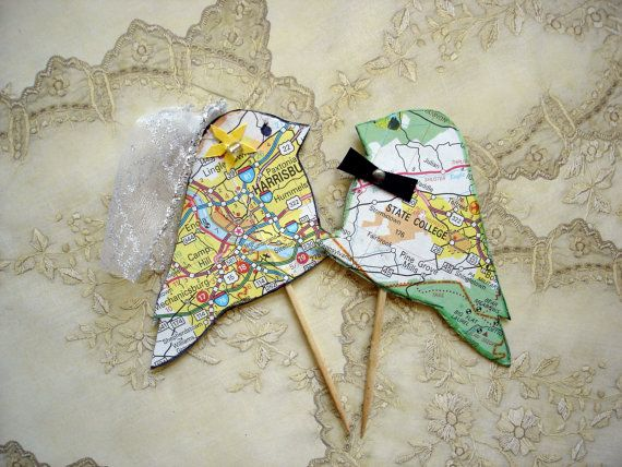 Ready to Ship Wedding cake topper, map love birds, eco-friendly, recycled