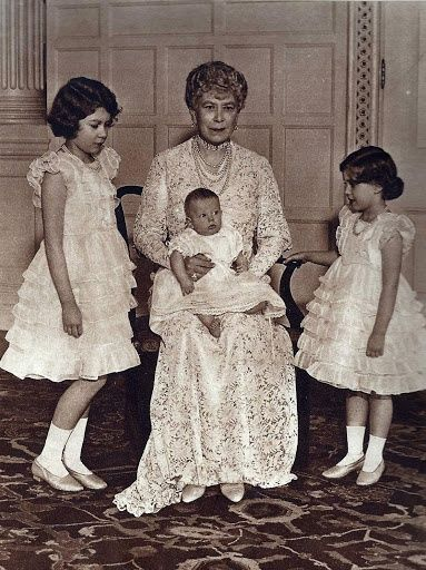 Queen Mary photographed with her grandchildren, Princess Elizabeth, Princess Margaret and Prince Edward (son of the Duke and Duchess of Kent), at Sandringham, January 1936