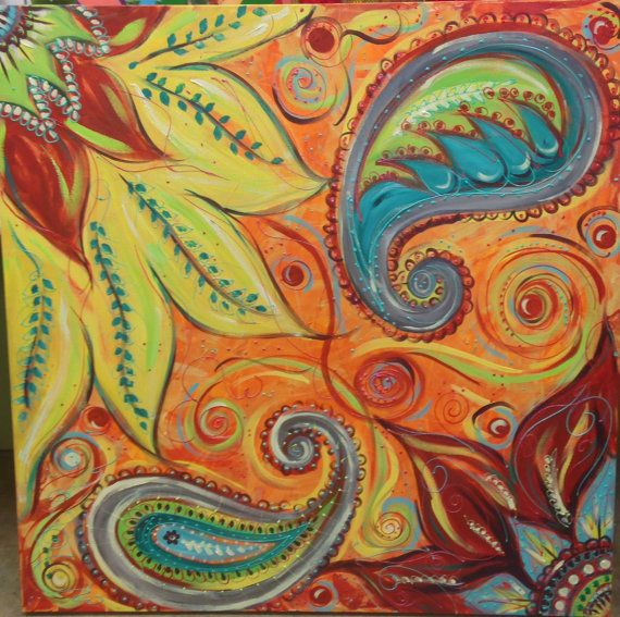 Hand Painted Original Acrylic Petals and Paisleys on Stretched Canvas in colors…