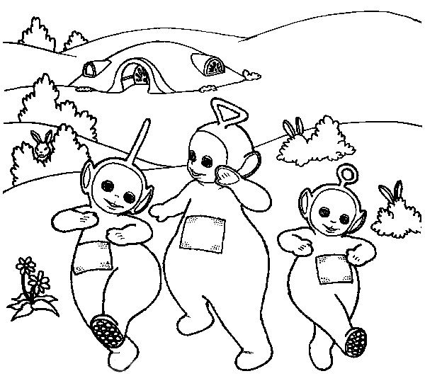Teletubbies tinky winky dipsy and poo dancing coloring for for Teletubbies dipsy coloring pages