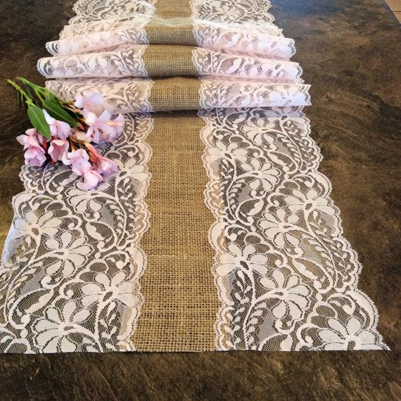 6ft Burlap Lace Runner Wedding Table Runner by LovelyLaceDesigns, $15.95