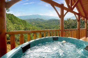 Hot tub with beautiful mountain view at a Pigeon Forge cabin
