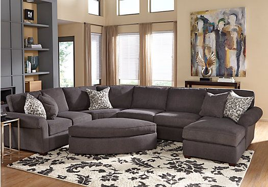 Biloxi charcoal 5 pc sectional living room 1 for Find living room furniture
