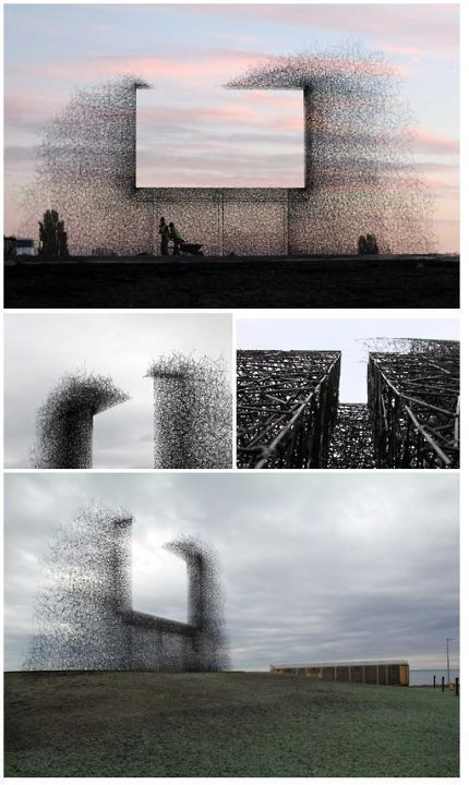 """""""Non-sign II is an installation by seattle based art collective Lead Pencil Studio located at the Canada-US border near Vancouver. The sculpture is made from small stainless steel rods that are assembled together to create the negative space of a billboard. While most billboards draw attention away from the landscape, Non-sign II frames the landscape, focusing attention back on it."""""""