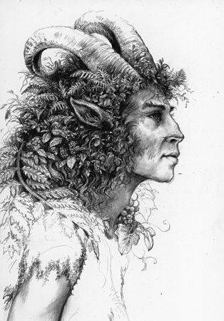 Faun - one of a class of lustful rural gods, represented as a man with a goat's horns, ears, legs, and tail.