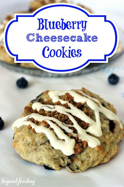 Blueberry Cheesecake Cookies with a graham cracker streusel by Beyond Frosting