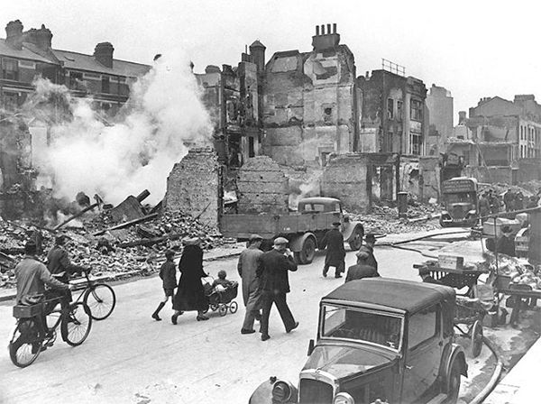 """24 Aug 40: Fate takes a turn when a lost formation of German bombers mistakenly drops their bombs over residential areas of London, damaging St Giles and Cripplegate. This will change the rules of war regarding bombing, as private citizens will now become """"fair game"""" for Allies and Axis alike. #WWII"""