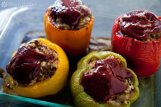 Dad's Stuffed Bell Peppers ~ Bell peppers stuffed with a mixture of ground beef, rice, onions, tomatoes, and spices.  Classic American stuffed bell peppers recipe. ~ SimplyRecipes.com