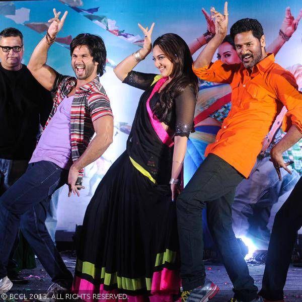 Bollywood actors Shahid Kapoor, Sonakshi Sinha and Filmmaker Prabhu Deva during the music launch of upcoming film R. Rajkumar in Mumbai.