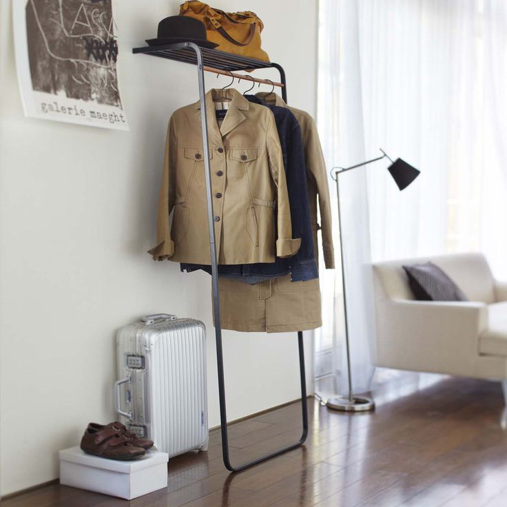 Tower // Leaning Slim Coat Hanger with Shelf (White)