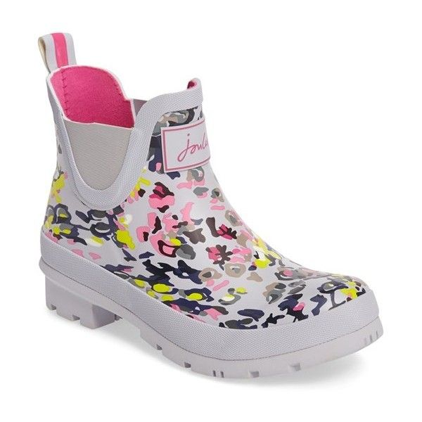 Women's Joules 'Wellibob' Short Rain Boot ($35) ❤ liked on Polyvore featuring shoes, boots, silver scatter, short wellington boots, rain boots, joules shoes, joules boots and wellies boots