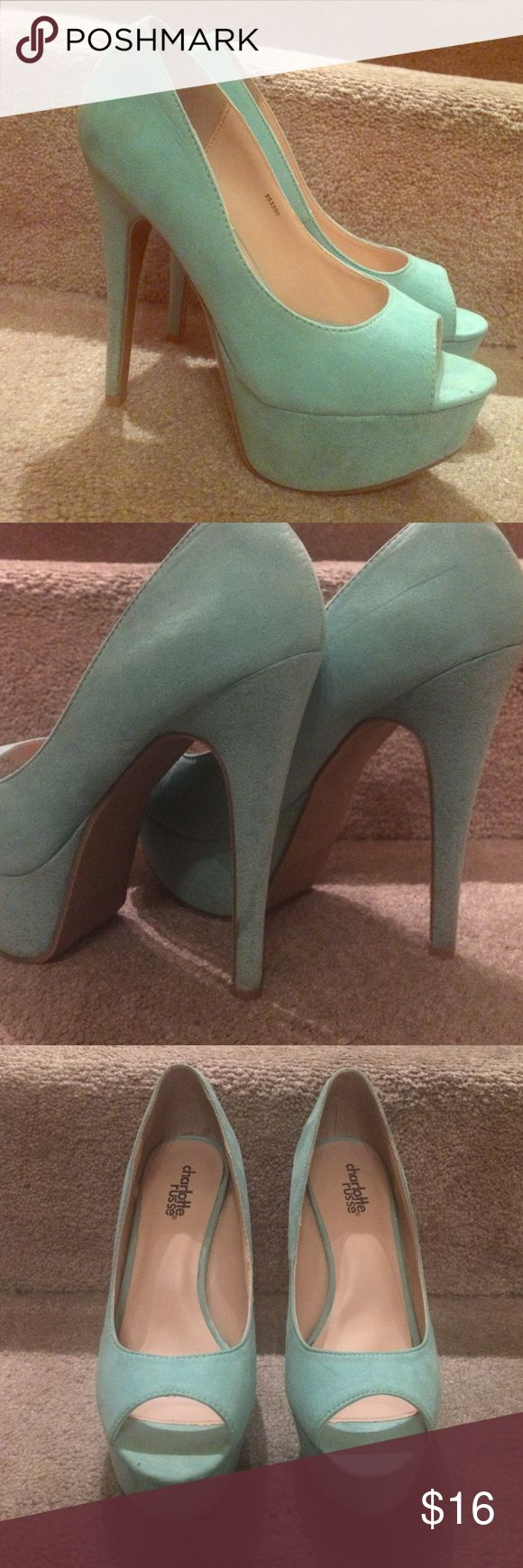 Price Drop🔹Mint Green Pumps Charlotte Russe mint green faux suede pumps. Slight wear/markings on bottom of shoes and on the heels from wearing 3 times Charlotte Russe Shoes Heels