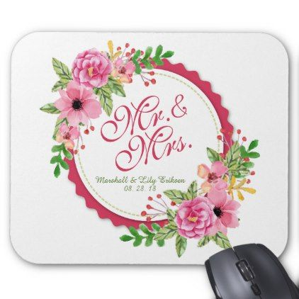 Mr. & Mrs. Floral Watercolor Wedding | Mousepad - floral gifts flower flowers gift ideas