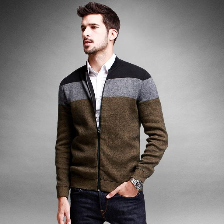 Discount men's knitted coat new spring Cardigan horizontal stripe sweater men's clothing