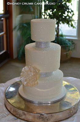 Sparkly Wedding Cake at Sahalee Country Club - Honey Crumb Cake Studio