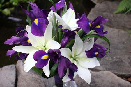 purple iris and white lily-centerpieces/bride bouquet