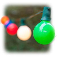 G50 Opaque Multicolor Patio String Lights on Green Wire