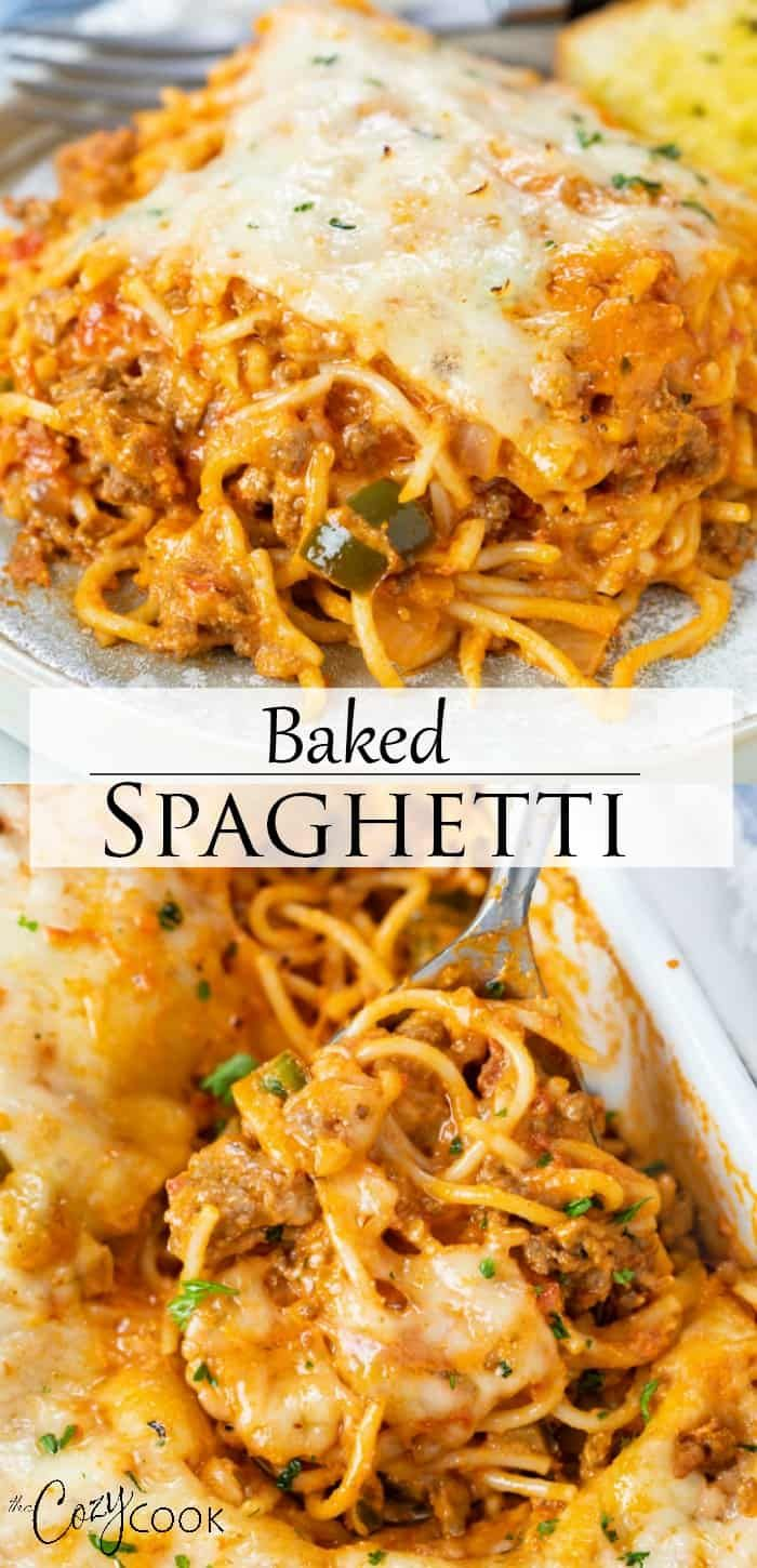 This Baked Spaghetti Recipe Is Easy To Make With Ground Beef Or Meatballs Marinara Sauce Ricotta Che In 2020 Baked Spaghetti Baked Spaghetti Recipe Cookbook Recipes