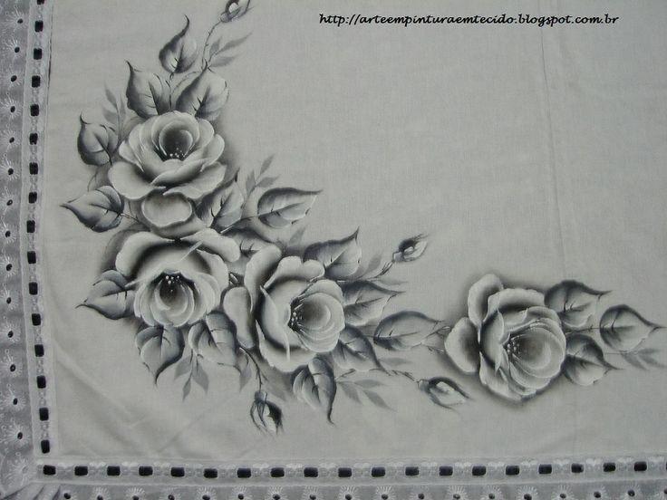Toalha de chá com rosas negras