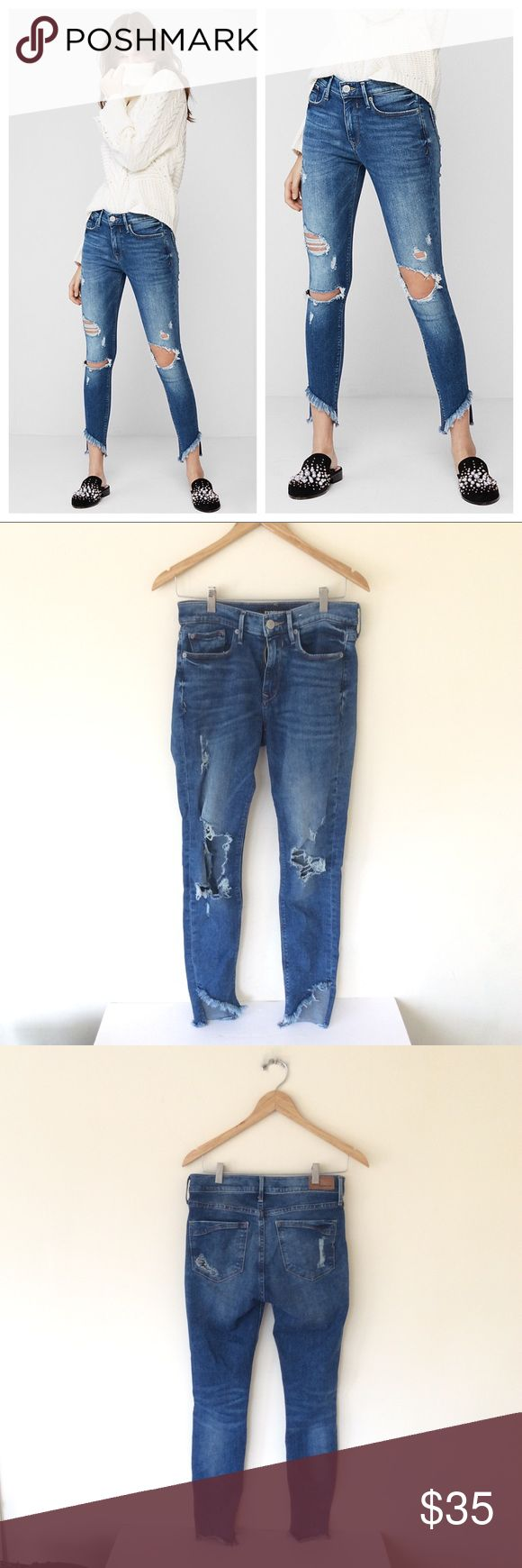 Express MidRise Distressed Ankle Stretch Jeans 4 Express MidRise Distressed Ankle Stretch Jeans 4 Express Jeans Skinny