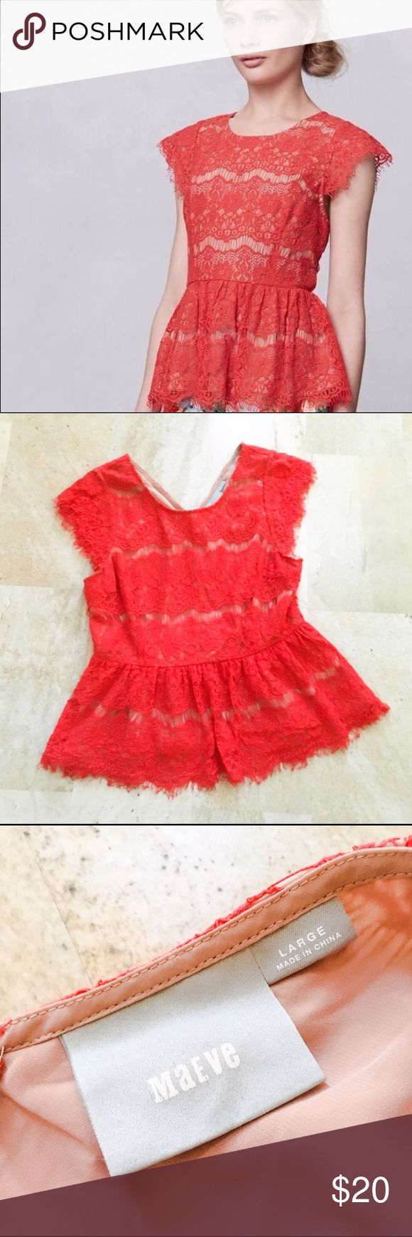 Anthropologie Mauve Red Lace Peplum Top This is a gently used Anthropologie Mauve Red Lace Peplum Top. In excellent condition. Anthropologie Tops Tees - Short Sleeve