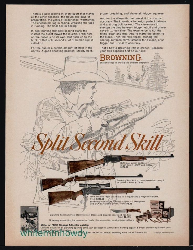 1972 BROWNING BLR Lever Action~Bolt Action & BAR Rifle AD #Browning