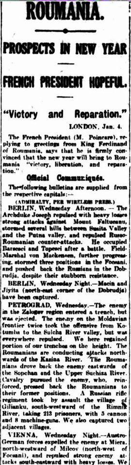 """WWI, 5 Jan 1917; """"French President convinced that the new year will bring to Roumania victory, liberation and reparation"""" - The Argus, Melbourne"""