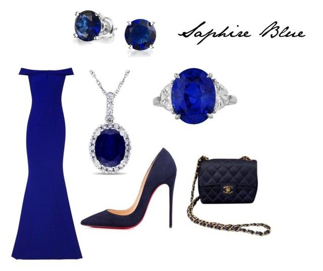 """saphire blue"" by mary-minge on Polyvore featuring Safiyaa, Christian Louboutin, Bling Jewelry, Allurez and Chanel"