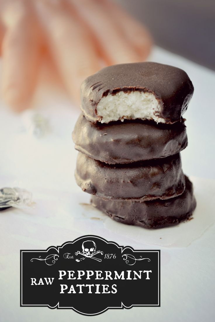 Peppermint patties.  1 c. shredded coconut (unsweetened), 2 tsp agave or maple syrup (use to taste–if you need more, add by 1/2 tsp until desired preference), 2 tsp coconut oil, melted, 1/2-1 tsp peppermint extract (depending on preference) http://papasteves.com/blogs/news