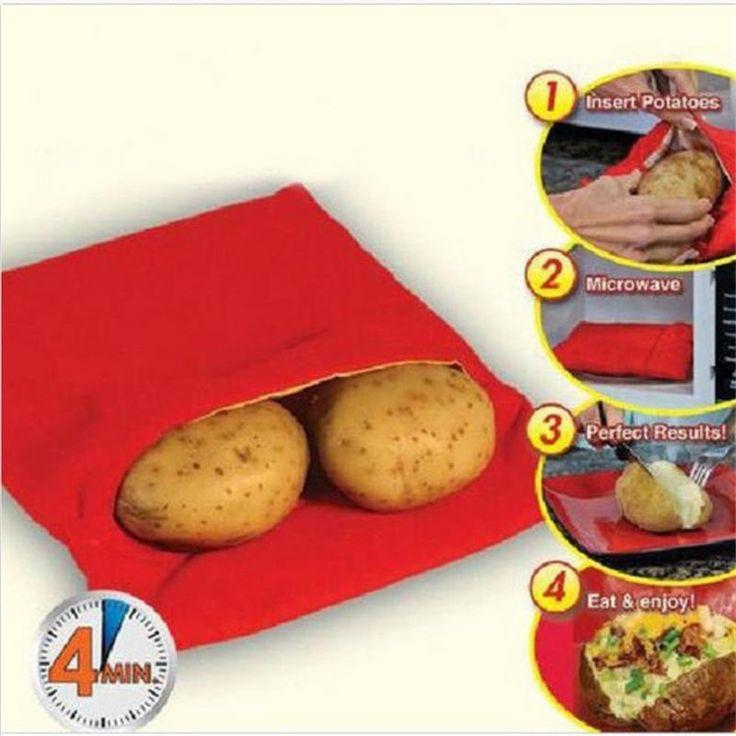 1 UNID NUEVO Rojo Lavable Bolsa de Papa Al Horno de Microondas Para Cocinar Cocina Potato Quick Fast (cocineros 4 papas a la vez) venta caliente