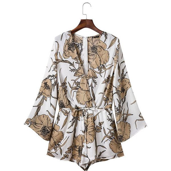Yoins V-neck Floral Playsuit Drawstring Waist Playsuit with Long... ($24) ❤ liked on Polyvore featuring jumpsuits, rompers, black, floral romper, floral print romper, long sleeve v neck romper, long-sleeve romper and sleeveless romper