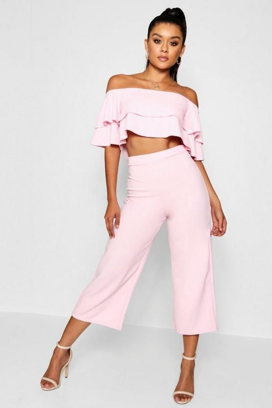 eecc155e61d3 Conjunto de falda pantalón y top palabra de doble en 2019 | Fashion ...
