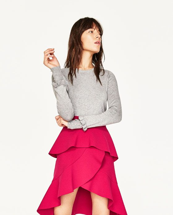 Image 1 of SWEATER WITH SLEEVE FRILL from Zara