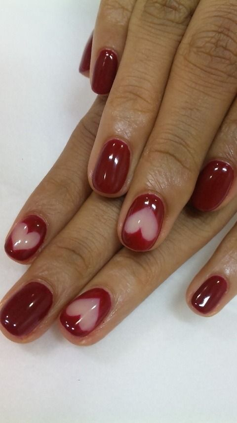 Dark Red Nails with Big White Heart