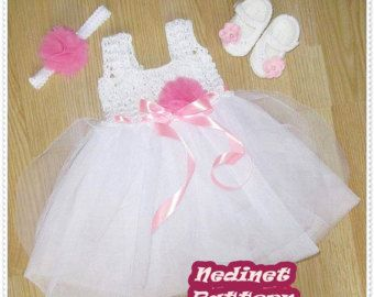 Crochet tulle baby dress pattern  0-36 months sizes tulle