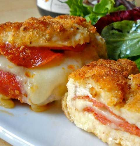 Recipe for Pizza Stuffed Chicken Breasts - If you love pizza, these pizza stuffed chicken breasts are going to knock your socks off!!!