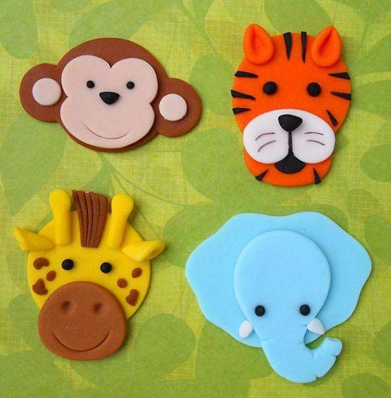12 JUNGLE ANIMALS. Edible Fondant Cupcake Toppers - Monkey, Tiger, Giraffe and Elephant