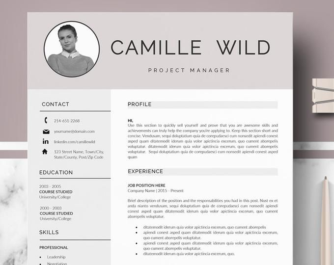 Professional Cv Template For Ms Word And Pages Creative Etsy Cv Template Cv Template Professional Cover Letter Format