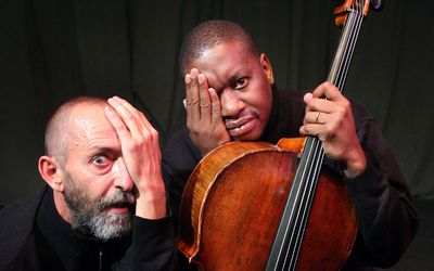 ON THE STAGE | Lionel Newton, accompanied by Kutlwano Masote, in the trio of monologues Agreed, at the Market Theatre until February 2. http://ow.ly/t1rys