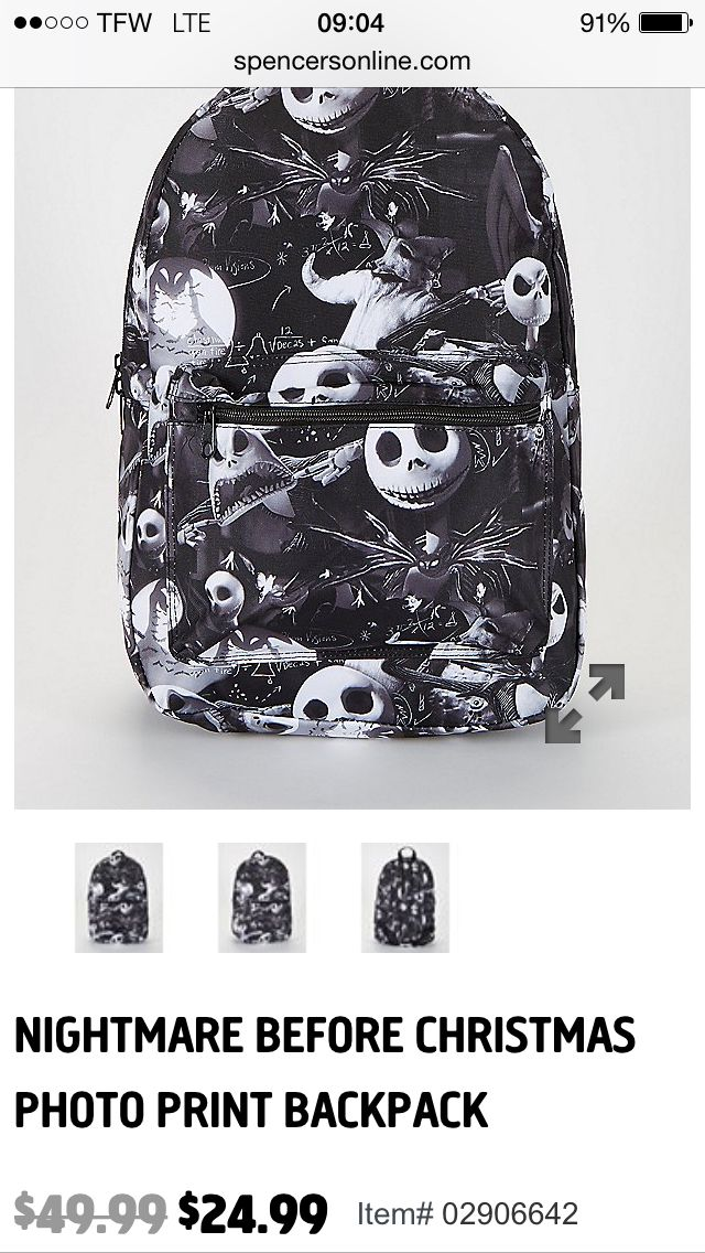 Jack skellington backpack from spencers online only.