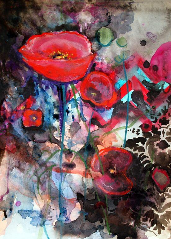 """Saatchi Online Artist: Annie Flynn; Mixed Media, 2012, Painting """"Opium Poppy"""""""